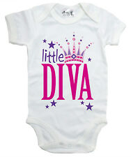 """Funny Baby Bodysuit """"Little Diva"""" Girl Baby grow Vest Baby Princess Clothes"""
