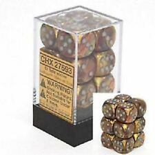 Chessex Dice d6 Set 16mm Lustrous Gold w/ Silver Pips 6 Sided Die 12 CHX 27693
