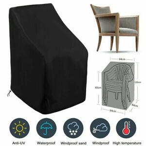 High Backrest Chair Patio Black Waterproof Cover Furniture Protector Outdoor UK·