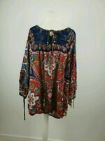 The Paragon Red Blue Paisley Boho Style Print Party Casual Top Size 2XL UK 22