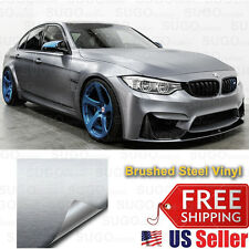 "84""x60"" Premium Silver Brushed Aluminum Metal Steel Vinyl Wrap Sticker Film Deca"