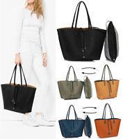 Women Reversible Shoulder Bags Ladies Designer Faux Leather Tote Handbags Large