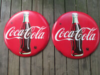 Coca-Cola Set of 2 Rustic 24 Inch Red Disc Button Signs Contour Bottle