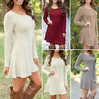 Women Long Sleeve Cable Knitted Jumper Dress Ladies Party Tunic Swing Mini Dress