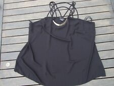 CITY CHIC TOP SIZE XL GOLD DETAIL BLACK STRAPPY