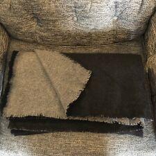 Restoration Hardware Cashmere Two Toned Throw, 98x80, Black/Dark Grey