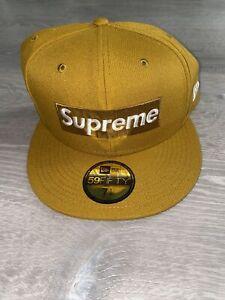 Supreme Champions Box Logo New Era Hat Fitted Cap Size 7 1/2 Wheat SS21 New