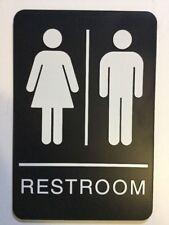 """Black Braille Unisex Ada Plastic Restroom Sign - 6"""" x 9"""" - Sign"""