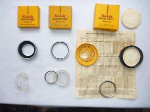 Kodak Adapter-Ringe, Filter & Portrait-Linse mit Schachteln und Kodak-Dosen