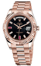 Rolex Day-Date II President Rose Gold 41mm Black Diamond Baguette Ruby Dial 2015