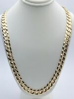 """14k Yellow Gold Solid 26"""" Cuban Curb Link Chain Necklace 9.5mm - 63 grams"""