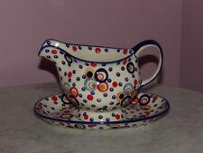 Polish Pottery Gravy Boat & Tray! Happy Happy Pattern!