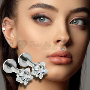 3MM Star Shaped AAA Crystal Silver Labret Monroe Helix Cartilage Stud Ring Pair