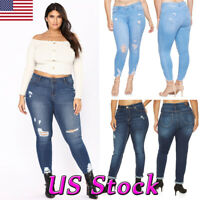 Womens Plus Size Stretch Denim Jeans Skinny Ripped Distressed Pants Trousers New