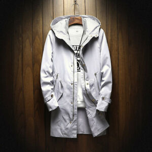 Casual Style Zipper And Button Up Trench Coat - Gray