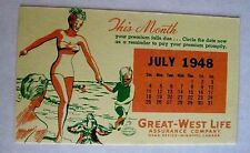 "Vintage 1948 Advertising Blotter for ""Great-West Life Assurance Co."" Canada *"