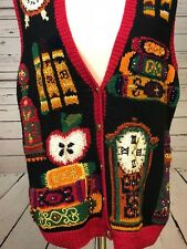 Marisa Christina Hand Knit Vest Small  Embroidered Sequin Beads School Teacher