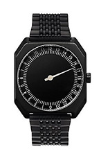NWT slow Jo Unisex Swiss Made Black Steel one-hand 24 hour Watch