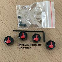 dust caps valve caps locking finger black enamel tire car van bike UK seller