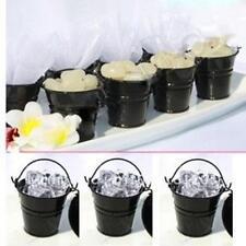 12x Mini Black Tin Pail Buckets & Pots Wedding Favor Bomboniere
