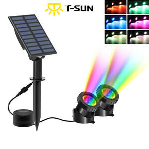 LED Solar Powered Pond Lights Waterproof IP68 Submersible Lights Color Changing