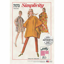 Simplicity 7173 Pattern 1960's Reprint Pullover Poncho Burnoose Simple-To-Sew