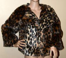 New $215 Yana K KIMMY Faux FUR Leopard Animal Print Cropped Jacket Coat 4