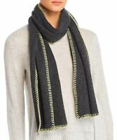Aqua Womens Whipstitch Cashmere Scarf Charcoal and Yellow 492493