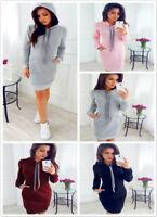 Womens Long Sleeve Hooded Sweatshirt Mini Dress Ladies Hoodies Long Tops J