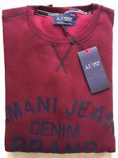 Men's Armani Jeans Denim Crew Neck Long  Jumper/Sweater Red Size-Medium RRP£110