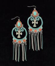 Blazin Roxx Western Womens Jewelry Earrings Dangle Chain Cross Turq Coral 30656