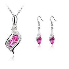 Women's Girls Beautiful Pink Stone Necklace & Earrings Jewellery Set UK Seller