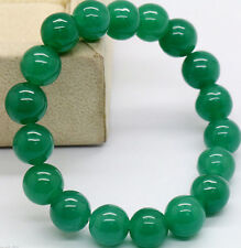 Green 100% Natural JADE Jadeite Round Gemstone Beads Bangle Bracelet 10mm