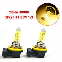 2Pcs H11 55W 12V 3000K Yellow Halogen Bulbs Car Lamp Quartz Glass Car Fog Lights