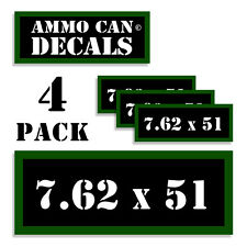 "7.62 X 51 Ammo Can 4x Labels Ammunition Case 3""x1.15"" stickers decals 4 pack"