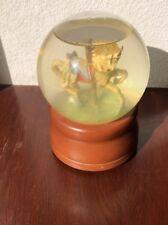 Vintage Carousal Horse Snow Globe Music Box With Brown Plastic Base