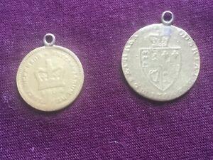 1798 George III Half Guinea Gold Coin & 1804 Third Guinea Gold Coin charm