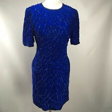 Vtg LAURENCE KAZAR Bright Blue Gatsby Party Beaded Sequin Evng Gown Dress Silk L