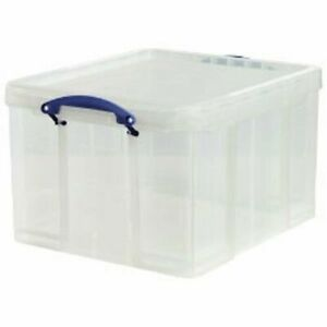 PACK OF 10 - Really Useful Boxes 42 Litre Foolscap files Recycling Box lid clear