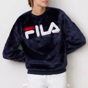Fila Logo Navy Emmeline Fur Sweatshirt Sweater L