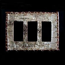 Real Birch Bark Triple Rocker/Slider/GFI plate cover handsewn rustic decor.