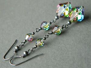 Vintage EXQUISITE Mercury Crystal Beads & Oxidised Sterling Silver Long Earrings