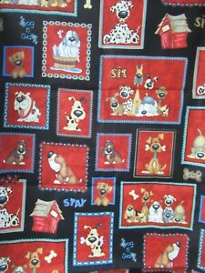 Dog Fabric By KC MICK  Funny Dogs Bone Paw Words Red Patch on Black Cotton 28X44