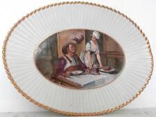 Plat porcelaine peint taverne mousquetaire 32cm signé GM Old ceramic plate XIX
