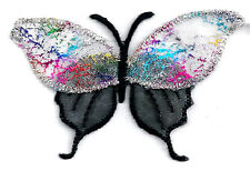 Butterfly - Insect - Confetti - Black - Iron On Patch