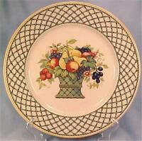 Bountiful Dinner Plate Rego Japan E454-58 Fruit Basket Lattice Porcelain Vintage