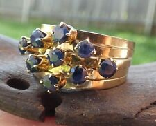 Vintage 10K Yellow Gold Sapphire Ring - Size 6.5
