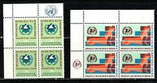 UNITED NATIONS 2 blocks of 4 MNH w/logo