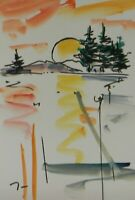 JOSE TRUJILLO ORIGINAL Watercolor Painting Expressionism 6x9 Sunset Original Art