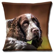 "New English Springer Spaniel Head Close Up Liver White 16"" Pillow Cushion Cover"